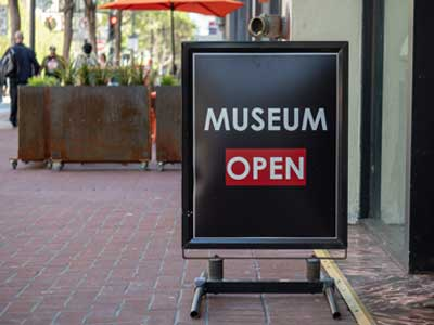 A Frame sign for a museum