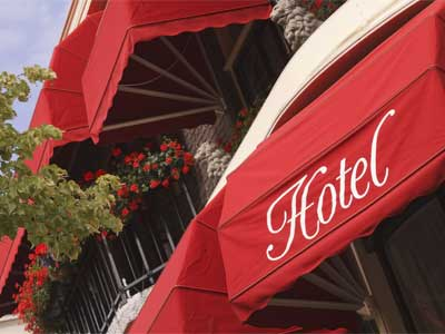 Awning sign for a hotel
