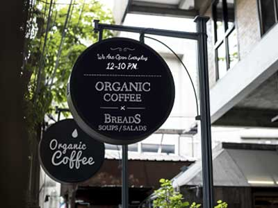 Blade sign for a coffee shop