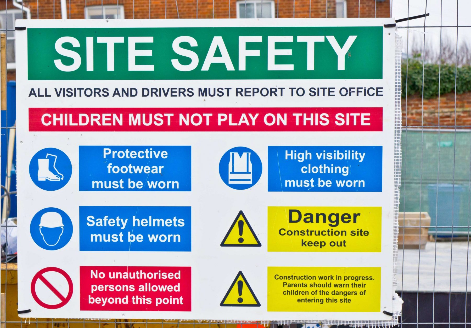 An information sign that helps regulate the safety on a construction site