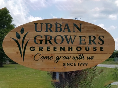 wood custom sign for urban growers greenhouse