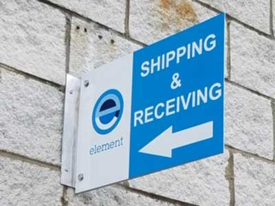small printed sign for shipping & receiving